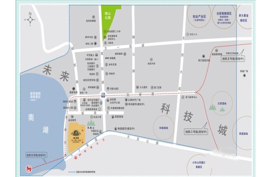 手绘街道英语地图